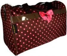 "Buy Brown with Pink Polka Dots 19"" Duffle Bag-NWT"