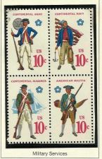 Buy STAMPS US 1975 SC# 1565-1568 AMERICAN MILITIA - BLOCK OF 4 in high quality mount