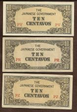 Buy Invasion Money Three (3) Small Japan Note 10 Centavo PV, PR, PZ Notes WWII RARE!