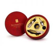 Buy Attractive Round Wood Box inc. Wine Stopper, Pourer, Corkscrew & Collar.