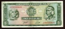 Buy Peru 5 Soles de Oro 1974 Banknote J294589620 - Inca Chief/Fort