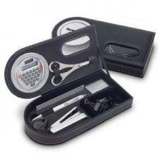 Buy Leather like Giftset Inc. Rotating Calc, Pen, Stapler, Staples, Ruler, Scissors