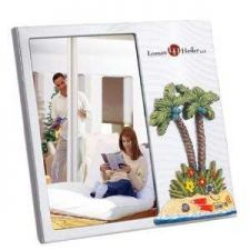 "Buy Brushed Aluminium Photo Frame w/3-D ""Palm Tree Theme"""