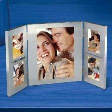 Buy Brushed Finish Aluminium Photo Frame Holds Four 2 x 3 and One 5 x 7 Photo