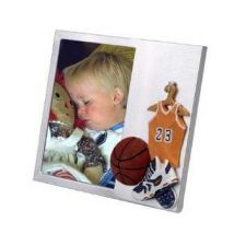 "Buy Brushed Aluminium Photo Frame with 3-D "" Basketball Theme"""
