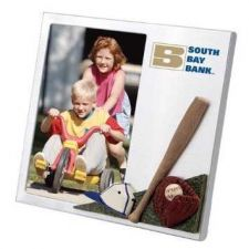 "Buy Brushed Aluminium Photo Frame w/ 3-D "" Baseball Theme"""