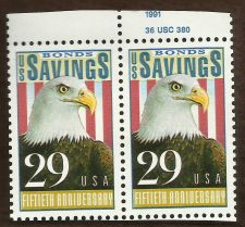 Buy 1991 Savings Bonds 50th Anniversary Scott #2534 29c set of two