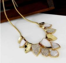 Buy Fashion Korean-style Women Golden Leaf Inset Crystal Necklace Beautiful Necklace