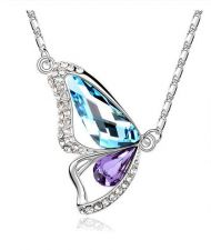 Buy New Fashion Beautiful Butterfly Wings Women Crystal Necklace | Sea Blue + Purple