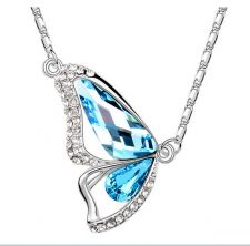 Buy New Fashion Beautiful Butterfly Wings Women Crystal Necklace | Sea Blue