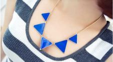 Buy Retro Exaggerated Fashion Blue Triangle Necklace