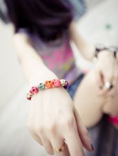 Buy New fashion women lady girl glamor colorful personality skull stretch bracelet