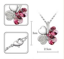 Buy Full Crystle Heart Clover Crystal Lovers Necklace Sweater chain