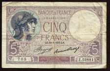 Buy FRANCE (P83) 5 Francs 1939 Note Z.5828814 - Historical WWII Era Currency !!