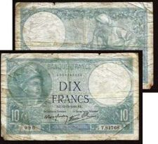 Buy FRANCE 10 FRANCS BANKNOTE 1940 P.84 Banknote T.81768 WWII Currency, Minerva in Helmet