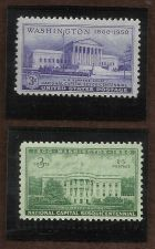 Buy National Capital Sesquicentennial 1800 Washington 1950, 3C Two (2) Varieties