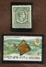 Buy GIBRALTAR 1938 KING GEORGE STAMP & Cook Islands 1c Fish Issue MLH #06637
