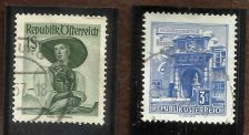 Buy AUSTRIA -1948 - 1s Costumes and AUSTRIA SG1313 1957 BUILDINGS 3s Stamps Used