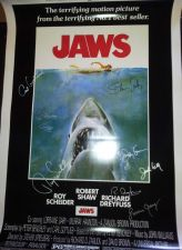 Buy JAWS 27X40 POSTER HAND SIGNED BY CAST STEVEN SPIELBERG x8