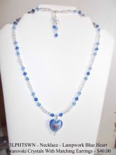 Buy 3LPHTSWN - Set - Necklace & Earrings - Lampwork Blue Heart + Swarovski Crystals