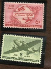 Buy US Air Mail Stamp 1953 6c Powered Flight & US C26 Airmail - Twin-Motor Transport