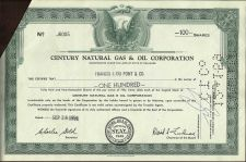 Buy Century Natural Gas & Oil Corporation Capital Stock 100 Shares 1959 Cert J6005