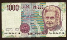 Buy Italy 1000 Lire Banknote PA768407N (1990)- Maria Montessori/Teacher