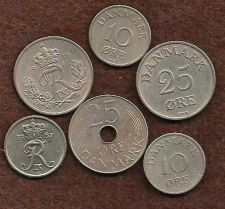 Buy Denmark Lot of 6 coins (10 & 25 Ore various dates)