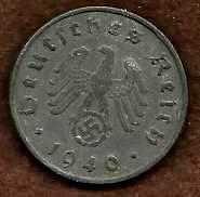 Buy Germany 10 ReichPfennig 1940 WWII ERA COIN w/Swastika