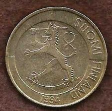 Buy Finland 1 Markka 1994 Coin KM# 76 Rampant Lion Shield Scandinavian Coin