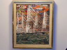 Buy Abstract harbor scene oil on canvas