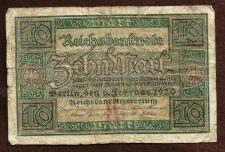 Buy GERMANY 10 MARK 1920 REICHSBANKNOTE - GERMAN BANKNOTE - Republic Treasury Note