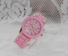Buy New Geneva Crystal Jelly Gel Silicon Watch #408 free shipping