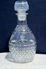 "Buy Vintage Princess House ""Diamond Puff"" Glass Decanter w/Etched Crown & Grapes"