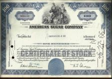 Buy American Sugar Company Stock Certificate 100 Shares dated 1965