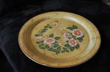 Buy Shabby Chic Vintage Metal Round Metal Serving Tray 1960's