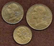 Buy France 3 Coin Set 20 (1997), 10 (1998) & 5 (1997) Centimes
