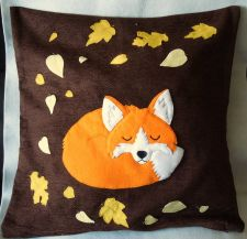 "Buy Handmade applique decorative cushion cover ""Sleeping Autumn Fox"""