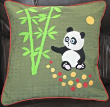 "Buy Handmade applique decorative nursery cushion cover ""Panda and Bamboo"""