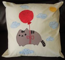 "Buy Handmade applique nursery cushion cover ""Floating Kitty"""