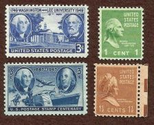 Buy Washington 3 Stamps - 1c Presidential Series, 1947 Centenary,Washington Lee Univ