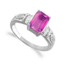 Buy 1.16 Carats Pink Sapphire VS Diamond Ring in 18k White Gold