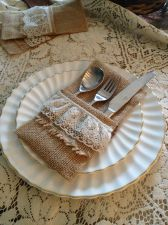 Buy Burlap Silverware Holder