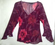 Buy Passport womens Floral Burgundy/Red Print size L top