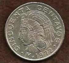 Buy Mexico Mexican 50 Centavos Cuauhtemoc Coin 1972