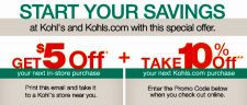 Buy (3) KOHLS COUPONS- SAVE $15 EXP 12/08/13