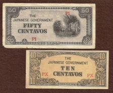 Buy Invasion Money Small Japan Note 10 Centavo PX & 50 Centavo PI Note WWII Historic