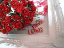 Buy 50x ARTIFICIAL PAPER RED ROSE CRAFT SCRAPBOOK VALENTINE WEDDING FREE EMBOSS LOVE