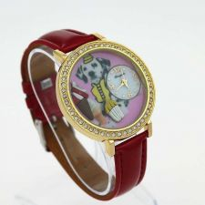 Buy New Red Leather Dog Animal Dial Lady Quartz #409 Free shipping
