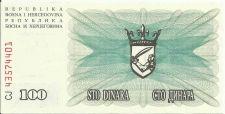 Buy Bosnia & Herzegovina 100 Dinara 1992 UNC P-13 NOTE #43574401